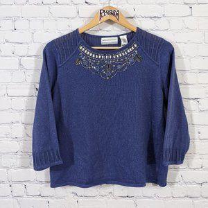 💎 Alfred Dunner Embellished Sweater Blue PM